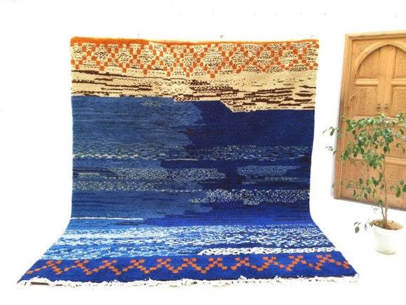 superbe bleu 9 x 11 marocain tapis berb re fait main bio laine. Black Bedroom Furniture Sets. Home Design Ideas