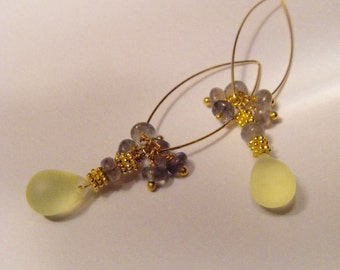 Earring gold Bohemian bead with Labradorite