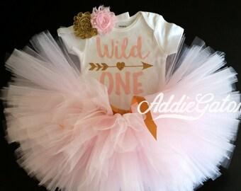 Wild One! Soft Pink & Gold Onesie, Tutu and Headband Set!