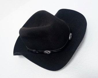 Vintage Black Southwestern Silver  Concho Festival Hat