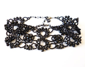 Vintage Victorian Black Beaded Choker Necklace Unique