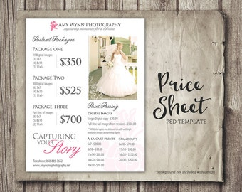 Wedding Price Sheet Photography Template - Photographer Price List - Marketing - Photoshop Template Photography Packages - INSTANT DOWNLOAD