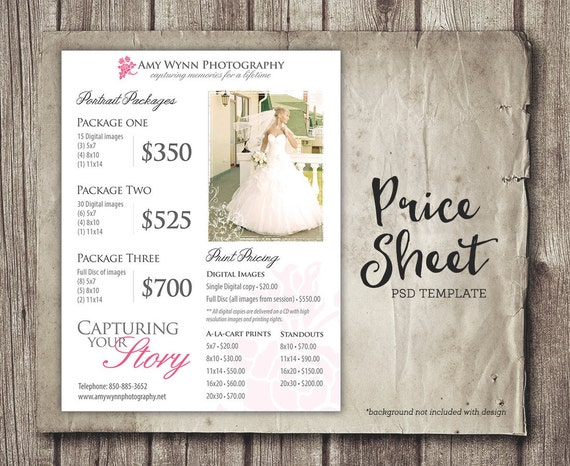 Wedding Photography Packages Template: Wedding Price Sheet Photography Template