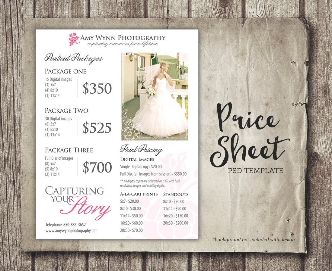 wedding price sheet photography template photographer price. Black Bedroom Furniture Sets. Home Design Ideas
