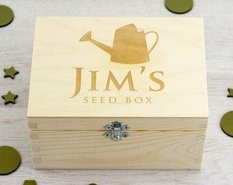 Seed Box - Personalised Seed Box - Keepsake Box - Memory Box - Wooden Keepsake Box - Gardening Gift - Gifts For Gardeners - LC052