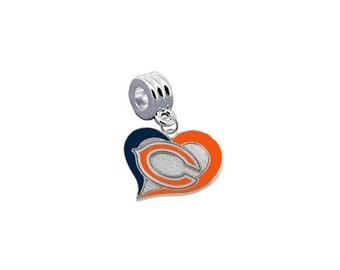 "Chicago Bears ""Swirl Heart"" Football European Charm for Bracelet, Necklace & DIY Jewelry"