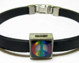 Rainbow Peace Sign Link With Choice Of Colored Band Charm Bracelet