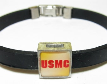 Military USMC Marines Link With Choice Of Colored Band Charm Bracelet