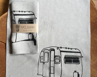 Trailer Camper Screen Printed Tea Towel onto100% Natural Linen, Hostess Gift,Camper's Gift