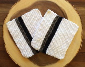 The Perfect Potholder, Modern Knit Potholders, white pot holder set