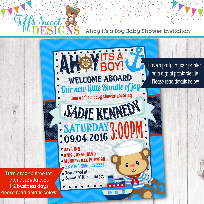 Nautical Monkey Sailor Baby Shower Invitation