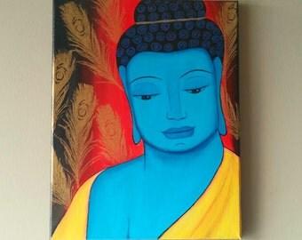 Original Zen Buddha Spiritual Painting,Yoga painting,Buddha Painting,Abstract Buddha Tibetan Wall Art,Meditation Buddha Painting,11x14