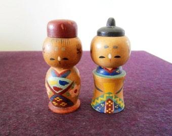 Salt Pepper Wood Kokeshi Couple Hand Painted Vintage Japan Man Woman MCM
