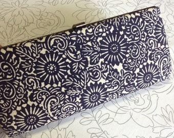 SALE 20% OFF - Vintage Japanese Kimono Obi Clutch Dinner Handbag - Navy Blue and White Cotton Evening Handbag - Gift for Her - Birthday Gift
