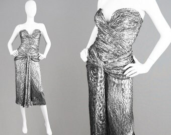 Vintage 80s VICKY TIEL Strapless Party Dress Ruched Dress Metallic Silver Lamé Dress Boned Dress American Designer Evening Gown Xs Plunging