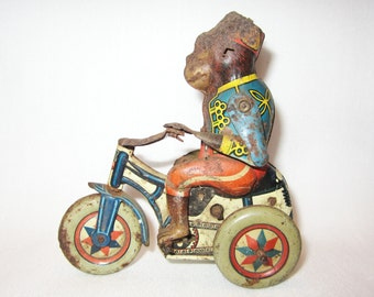 Vintage Tin Monkey Riding an Arnold Bike Wind-Up Toy Made in Germany US Zone