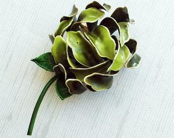 Vintage Retro Green Enamel Metal Flower Succulent Brooch Pin, Large Flower Brooch, 60s Flower Brooch Pin, Flower Power, Succulent Jewelry