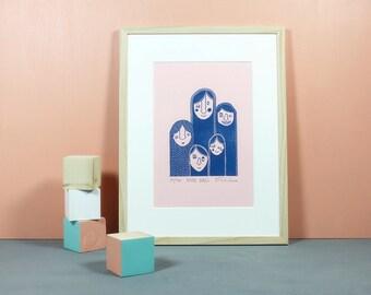 Hairy Girls | Linocut, blockprint, handmade print, handpulled, printmaking, illustration, wallart, girlgang, girls, poster, blue, pink, A4