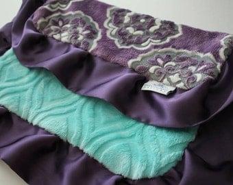 Mar Bella Minky Barcelona in Violeta Purple, Gray and White - Marbella, Baby Blanket, Medallion, Grape, Plum, Aruba Marquise, Embossed Vine