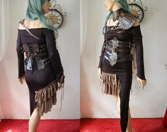 WAS 70 NOW 50!!! Heda Dress, Steampunk Wasteland Distressed Post Apocalyptic Distopian Black Asymetrical Burning man