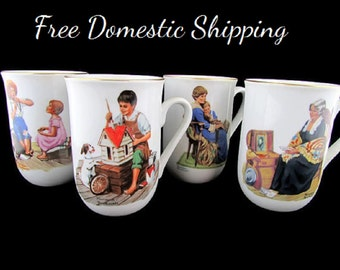 Norman Rockwell Mugs, Museum Collector Mugs, Four Vintage Mugs, 24 Kt Gold Trim, Original Boxes, Set of Coffee Mugs, Free US Shipping