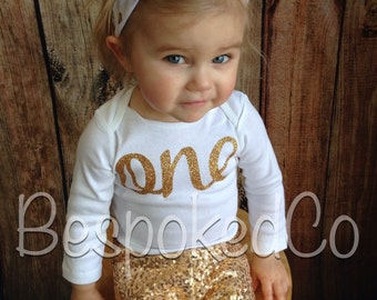1st Birthday Outfit winter, Gold sequin pants. Gold One birthday shirt and pants, first birthday winter, Baby girls first birthday
