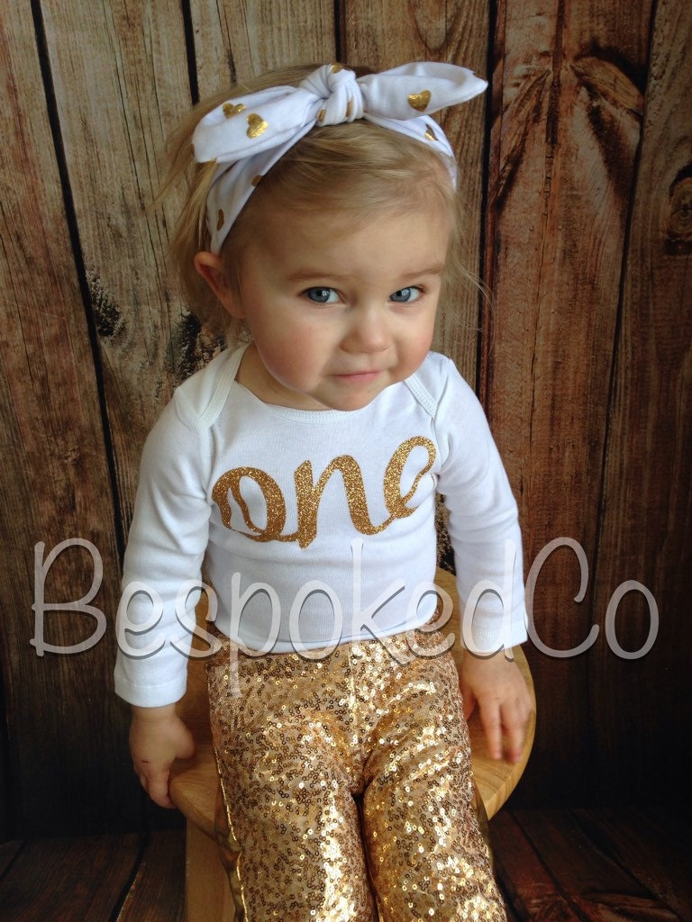 1st Birthday Outfit winter Gold sequin pants. Gold One