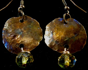 Fired and Hammered Copper Earrings