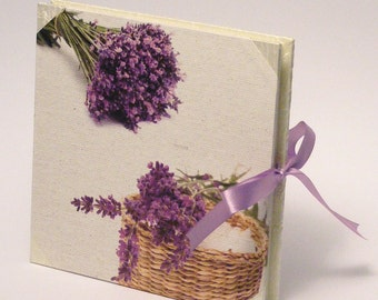 Lavender Wedding Photo Album, Elegant Scrapbook Album, White Silk and Lavender Paper Cover Photoalbum, Wedding Gift Gift for Bride, Giftidea
