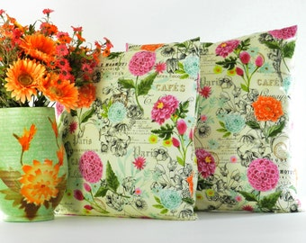 Pink and Orange Pillow Cover - Floral Pillow - Tropical Pillow - Pink Floral Pillow Cover - Orange Floral Pillow Cover - 18 x 18 pillow