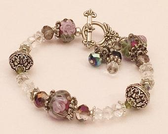 Lampwork Bead Floral Bead Bracelet