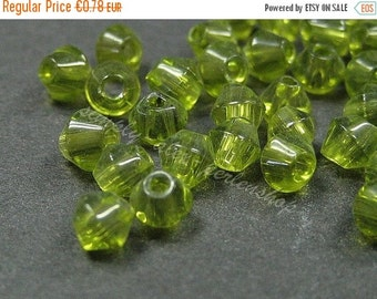 ON SALE 50 Glas-Facettenperlen 4mm Oliv