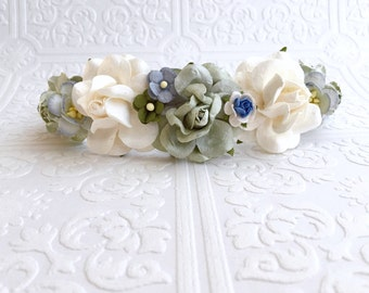 The Blue and Sage Goddess Floral Crown