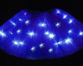 Child Navy Blue LED Light up Tutu Skirt with Batteries Fits Toddler 2 to Girls 8