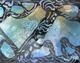 MOONLIGHT ICE - Contemporary Art - Abstract Painting -  Moorland Winter - Original Watercolour Painting - ElizabethAFox