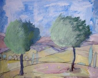 HARMONIOUS OLIVE TREES - Contemporary Art - Fine Art Painting - Tuscany Painting - Acrylic Painting - ElizabethAFox