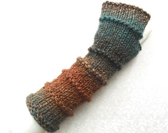 Knit Fingerless Gloves, Fingerless Mitts, Hand Warmers, Gloves, in Purled Bands Woodlands Teal, Cocoa & Rust, FG-PBL110
