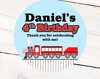 Train Personalized Stickers, Birthday Choo Choo Personalized Labels - Favor Labels