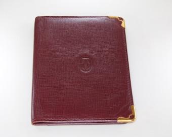 Authentic Cartier burgundy leather wallet/ Cartier Paris/ mint condition Cartier wallet / bill fold wallet /Cartier wallet / designer wallet