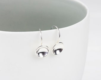 Handmade Sterling Silver Concave Disk Drop Earrings
