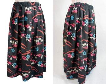 Tropic Hawaiian style gathered vintage skirt. Black hawaiian print. Gathered skirt. Midi flared skirt. L size.