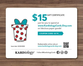 GIFT CERTIFICATE 15 DOLLARS - Kardiology Cards