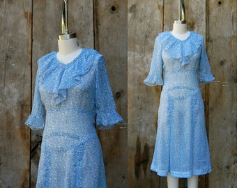 c. 1930s cotton dress + vintage 30s blue and white floral print day dress