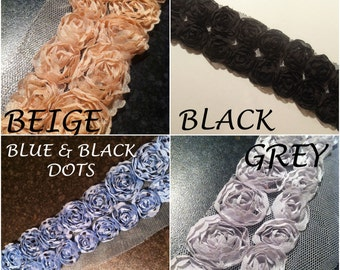 Rose Flower Lace Fabric Trim - Bridal Flowers Net Tulle - DOUBLE ROW (by metre)