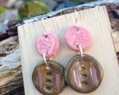 Pink and brown clay earrings, hand painted earrings, pink earrings, brown earrings, clay drop earrings