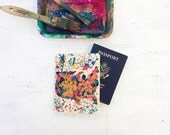 Map of America passport cover hand painted splatter map design on canvas, map of USA, painted map of America, travel gift, travel wallet