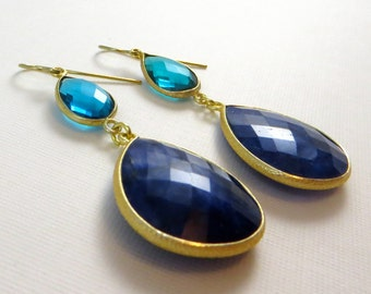 Teal and Sapphire Gold Dangle Earrings
