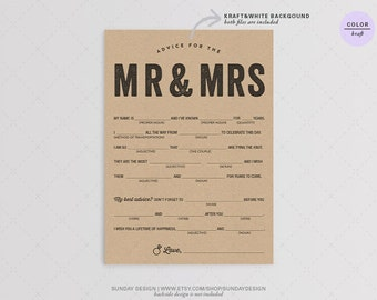Instant Download / Rustic Typography Wedding Mad Libs - DIY Printable Digital File - Guest book alternative - guest libs - Marriage advice