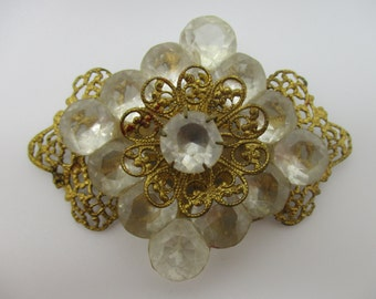 Gold Tone Filgree and Frosted Plastic Rhinestone Victorian Revival Brooch