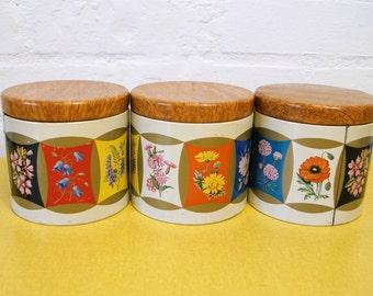 Set of 3 vintage floral print tins